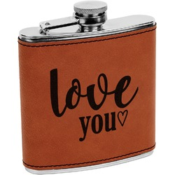 Love Quotes and Sayings Leatherette Wrapped Stainless Steel Flask (Personalized)
