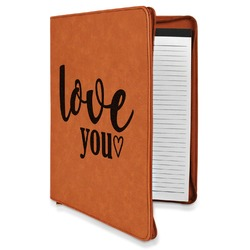Love Quotes and Sayings Leatherette Zipper Portfolio with Notepad (Personalized)