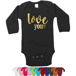 Love Quotes and Sayings Foil Bodysuit - Long Sleeves - 6-12 months - Gold, Silver or Rose Gold (Personalized)