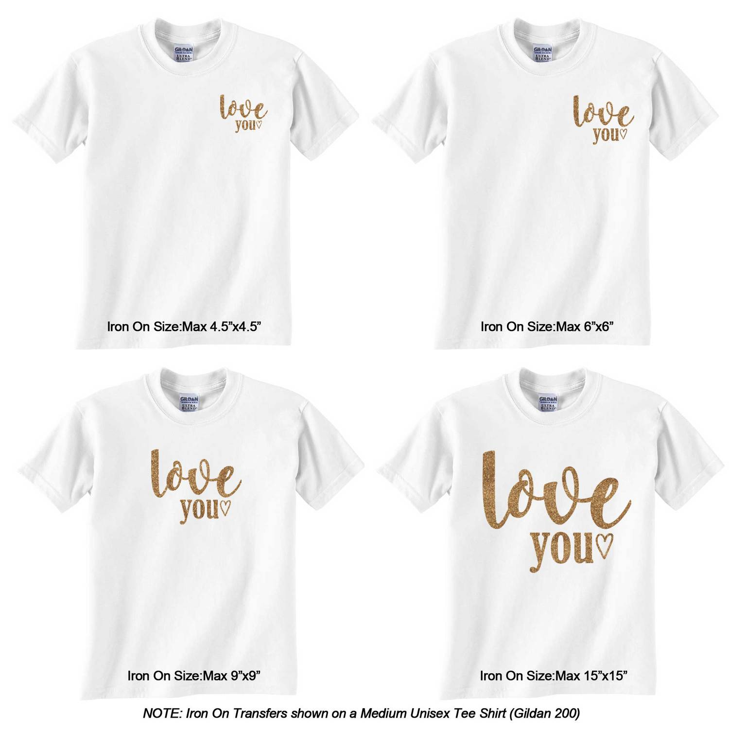 Love Quotes And Sayings Glitter Iron On Transfer Custom Sized