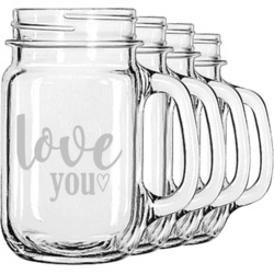 Love Quotes and Sayings Mason Jar Mugs (Set of 4) (Personalized)