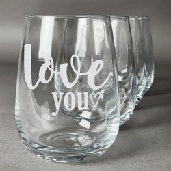 Love Quotes and Sayings Stemless Wine Glasses (Set of 4) (Personalized)
