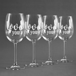 Love Quotes and Sayings Wine Glasses (Set of 4) (Personalized)