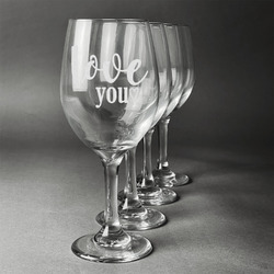 Love Quotes and Sayings Wineglasses (Set of 4) (Personalized)
