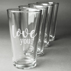 Love Quotes and Sayings Beer Glasses (Set of 4) (Personalized)