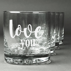 Love Quotes and Sayings Whiskey Glasses (Set of 4) (Personalized)