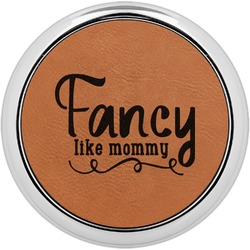 Mom Quotes and Sayings Leatherette Round Coaster w/ Silver Edge - Single or Set (Personalized)