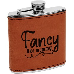 Mom Quotes and Sayings Leatherette Wrapped Stainless Steel Flask (Personalized)