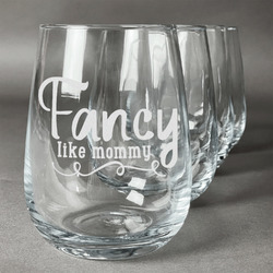Mom Quotes and Sayings Wine Glasses (Stemless- Set of 4) (Personalized)