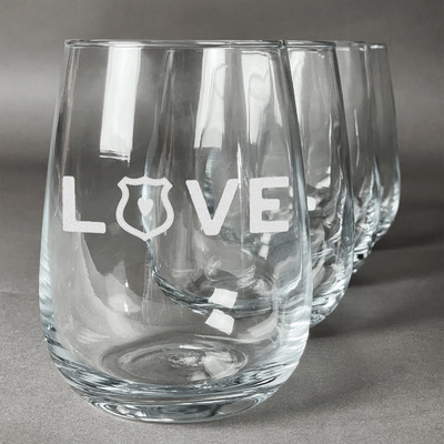 Police Quotes and Sayings Stemless Wine Glasses (Set of 4) (Personalized)