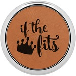 Princess Quotes and Sayings Leatherette Round Coaster w/ Silver Edge - Single or Set (Personalized)