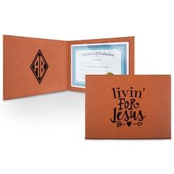 Religious Quotes and Sayings Leatherette Certificate Holder (Personalized)