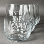 Religious Quotes and Sayings Stemless Wine Glasses (Set of 4) (Personalized)