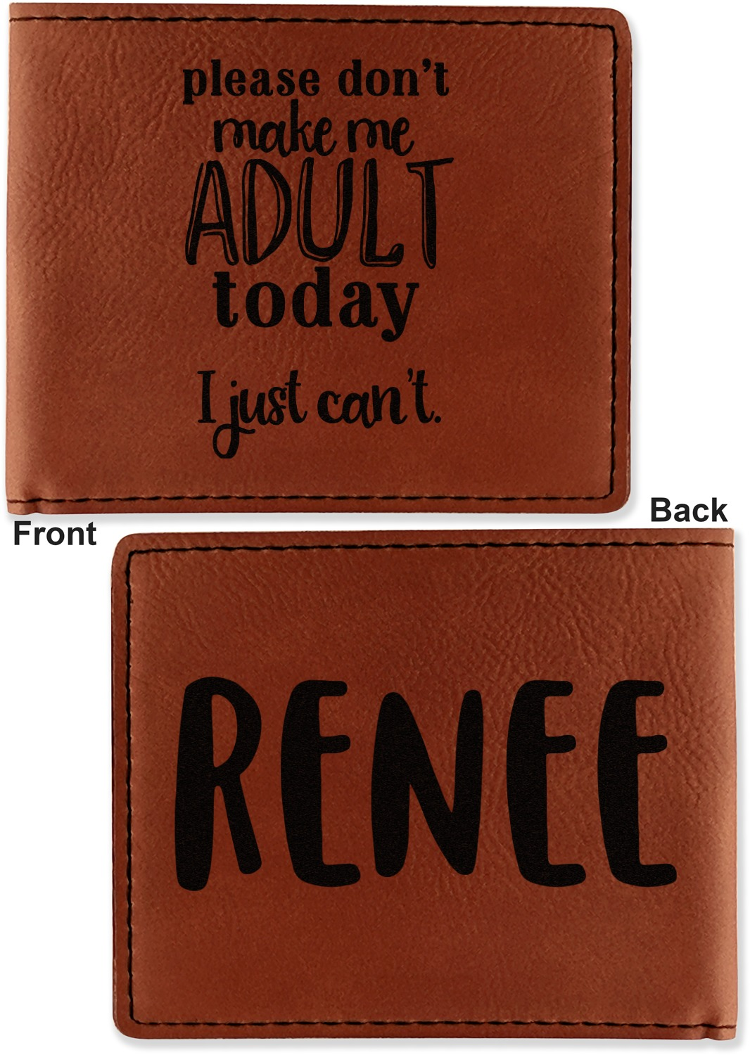 Funny Quotes and Sayings Leatherette Bifold Wallet (Personalized ...