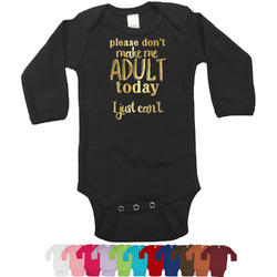 Funny Quotes and Sayings Foil Bodysuit - Long Sleeves - 6-12 months - Gold, Silver or Rose Gold (Personalized)