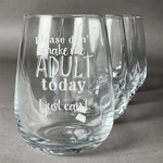 Funny Quotes and Sayings Stemless Wine Glasses (Set of 4) (Personalized)