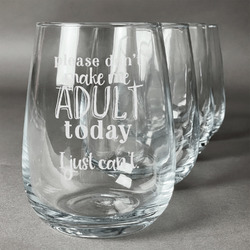 Funny Quotes and Sayings Wine Glasses (Stemless- Set of 4) (Personalized)