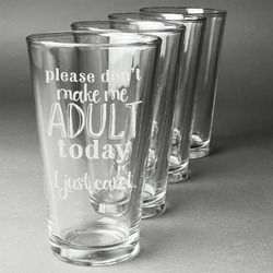 Funny Quotes and Sayings Beer Glasses (Set of 4) (Personalized)