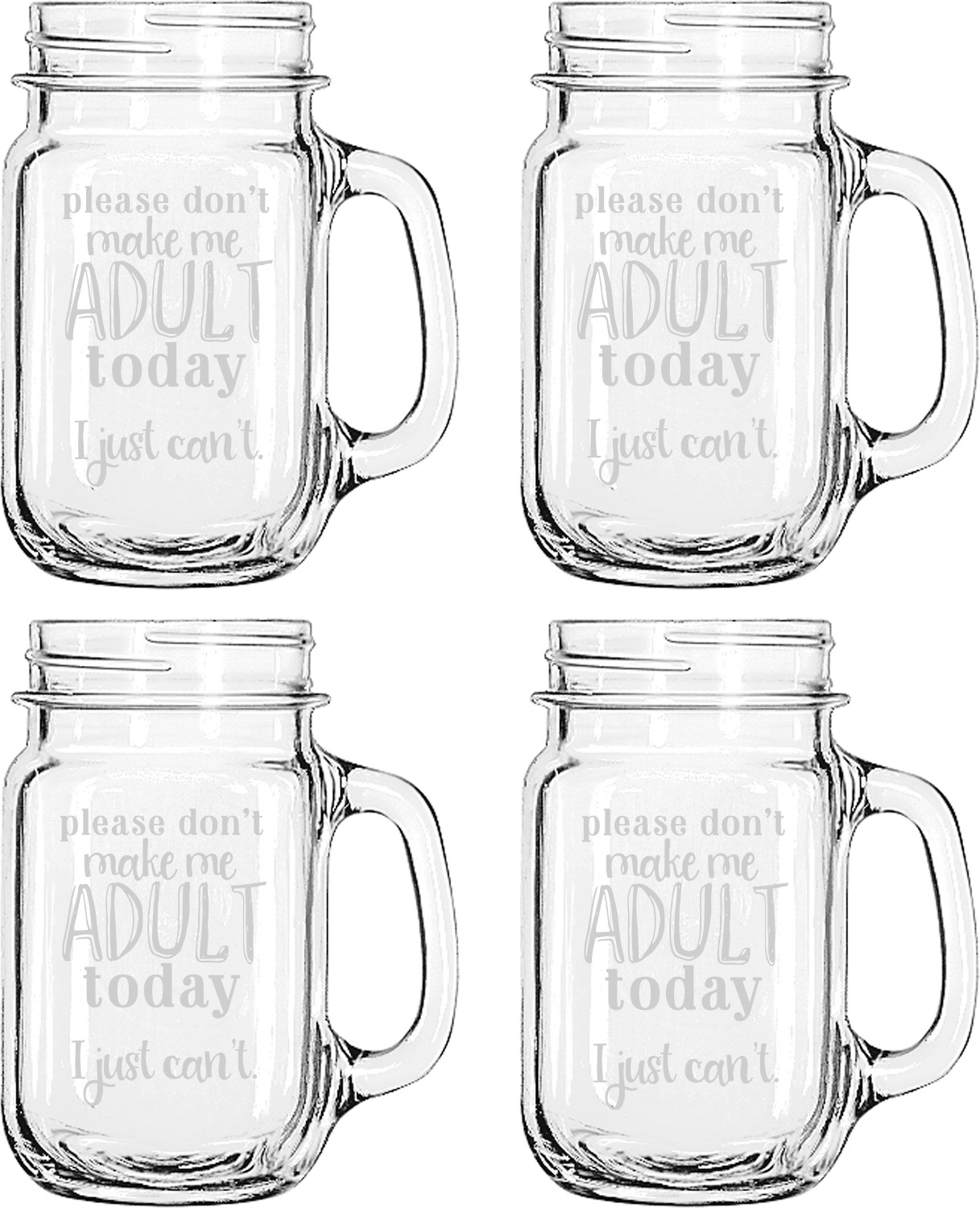 Funny Quotes And Sayings Mason Jar Mugs Set Of 4 Personalized