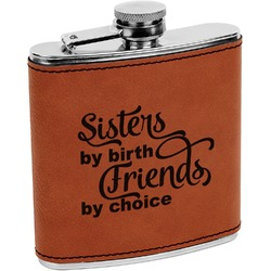Sister Quotes and Sayings Leatherette Wrapped Stainless Steel Flask (Personalized)