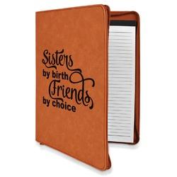 Sister Quotes and Sayings Leatherette Zipper Portfolio with Notepad (Personalized)