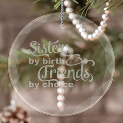 Sister Quotes and Sayings Engraved Glass Ornament
