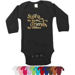 Sister Quotes and Sayings Foil Bodysuit - Long Sleeves - Gold, Silver or Rose Gold (Personalized)