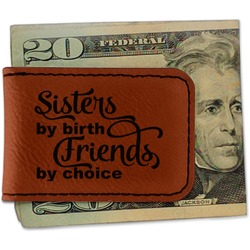 Sister Quotes and Sayings Leatherette Magnetic Money Clip - Single Sided (Personalized)