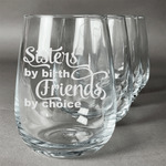 Sister Quotes and Sayings Stemless Wine Glasses (Set of 4) (Personalized)