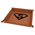 """Super Hero Letters 9"""" x 9"""" Leather Valet Tray w/ Initial"""