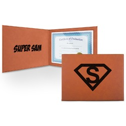 Super Hero Letters Leatherette Certificate Holder (Personalized)
