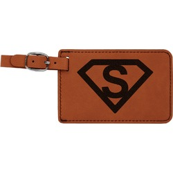 Super Hero Letters Leatherette Luggage Tag (Personalized)