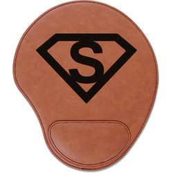 Super Hero Letters Leatherette Mouse Pad with Wrist Support (Personalized)