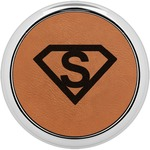 Super Hero Letters Leatherette Round Coaster w/ Silver Edge - Single or Set (Personalized)