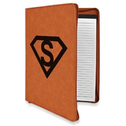 Super Hero Letters Leatherette Zipper Portfolio with Notepad (Personalized)