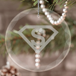 Super Hero Letters Engraved Glass Ornament (Personalized)