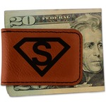 Super Hero Letters Leatherette Magnetic Money Clip (Personalized)
