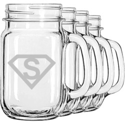 Super Hero Letters Mason Jar Mugs (Set of 4) (Personalized)