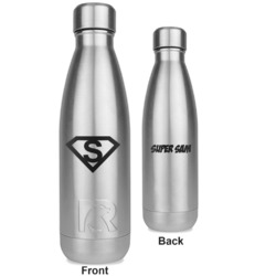 Super Hero Letters RTIC Bottle - Silver - Engraved Front & Back (Personalized)
