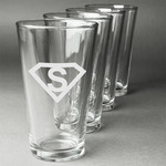Super Hero Letters Beer Glasses (Set of 4) (Personalized)