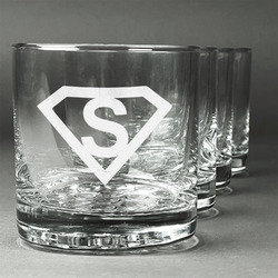 Super Hero Letters Whiskey Glasses (Set of 4) (Personalized)