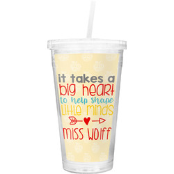 Teacher Quote Double Wall Tumbler with Straw (Personalized)