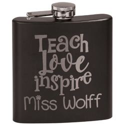 Teacher Quote Black Flask Set (Personalized)