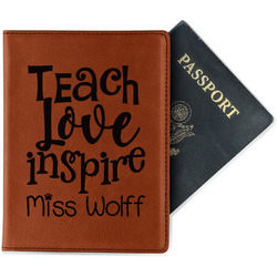 Teacher Quote Leatherette Passport Holder (Personalized)