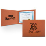Teacher Quote Leatherette Certificate Holder (Personalized)