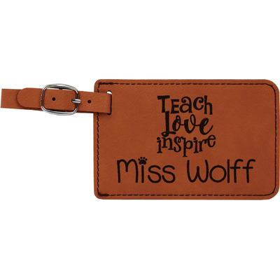 Teacher Quote Leatherette Luggage Tag (Personalized)