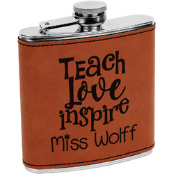 Teacher Quote Leatherette Wrapped Stainless Steel Flask (Personalized)