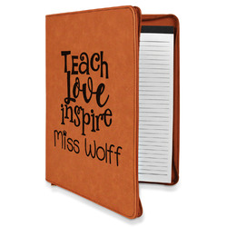 Teacher Quote Leatherette Zipper Portfolio with Notepad (Personalized)