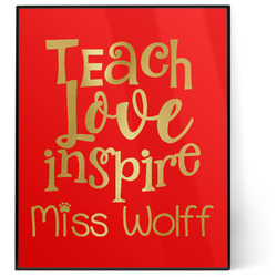 Teacher Quotes and Sayings 8x10 Foil Wall Art - Red (Personalized)