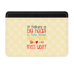 Teacher Quote Genuine Leather Front Pocket Wallet (Personalized)